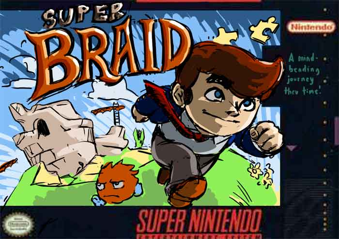 SNES box art of Braid homage to Super Mario.